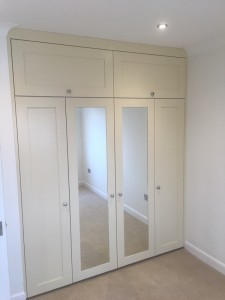 Bespoke made MDF fitted wardrobes to include soft close doors & top boxes (spray paint factory finish in Matt Ivory )