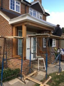 Oak framed constructed porch