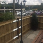 The Chequers pub old Amersham patio with Victorian cast lamp posts