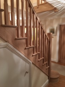 Custom made solid prime grade oak cut string staircase