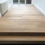 Engineered oak flooring including a clear hard wax oil finish