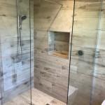 Porcelain wood plank effect wet room