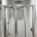 Cloakroom to include L.E.D recess lighting , wireless shower controls & hidden cistern WC