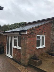 Existing out building converted into fully functioning office with electrics , lighting & heating using re-claimed brick & slate roof