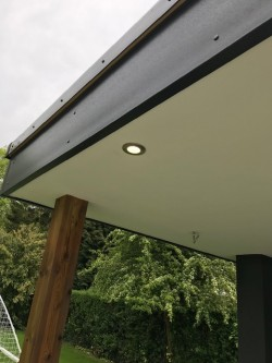 Bespoke Garden Room incorporating a central log burner , Velux flat roof lights with solar powered blinds, lighting & power to accommodate media