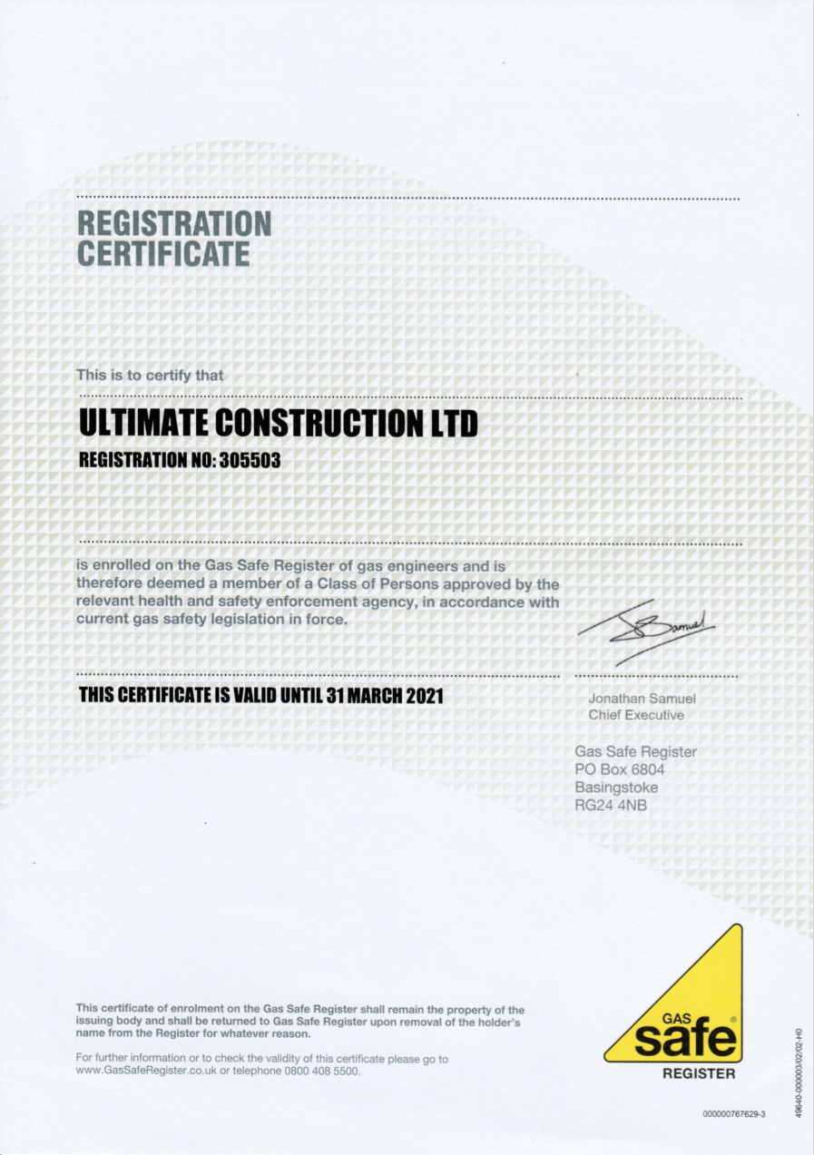 Scan of Gas Safe certificate