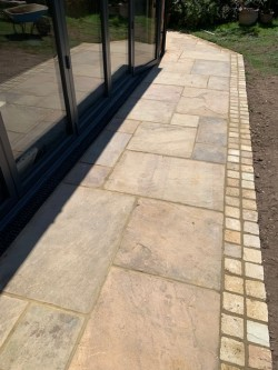 Natural indian sandstone slab with matching sandstone edging sets