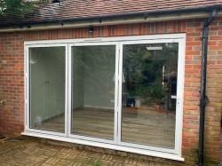 Aluminium powder coated white slimline bi-fold doors